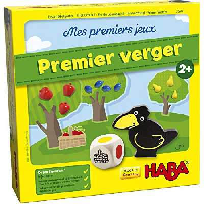 HABA Mes premiers jeux Mon Premier verger, jeu de société ludique autour des couleurs et des formes à partir de 2 ans, jouets en bois et jeu éducatif, le jeu classique pour petits enfants, 3592